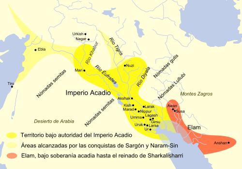 Mapa que muestra la extensión del imperio acadio