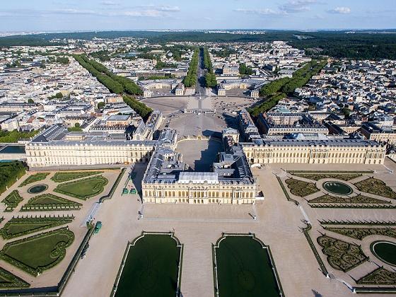 Vista aérea del Palacio de Versalles en la actualidad