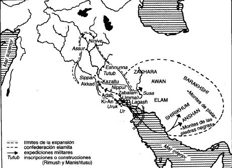 Mapa de la extensión del Imperio Acadio durante el reinado de Rimush y Manishtusu