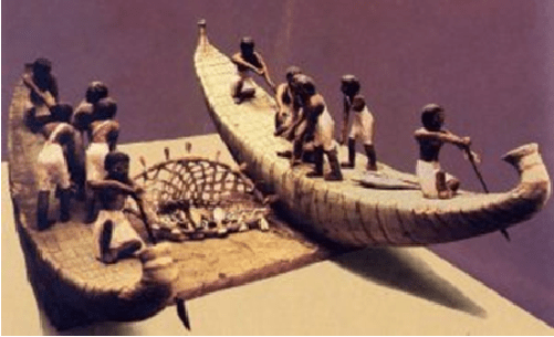 Figuras de barcos en el antiguo Egipto utilizadas para la pesca