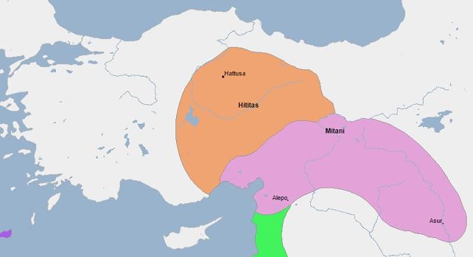 Mapa de Mitanni y el imperio hitita a mediados del siglo XV (Geacron)