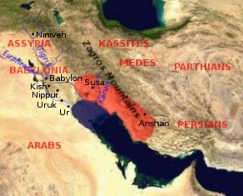 Mapa aproximado de la extensión de Elam antes de su máximo apogeo