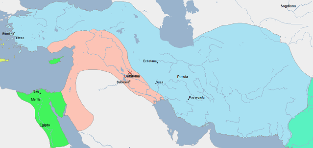 Mapa del imperio persa y el imperio babilónico en vísperas del fin de Babilonia (vía Geacron)