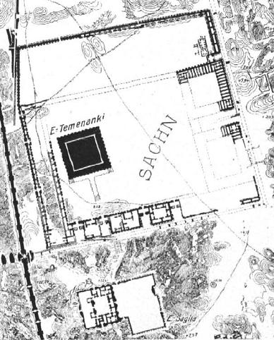 Plano arqueológico del complejo religioso de Babilonia, con el ziqqurat de Etemenanki