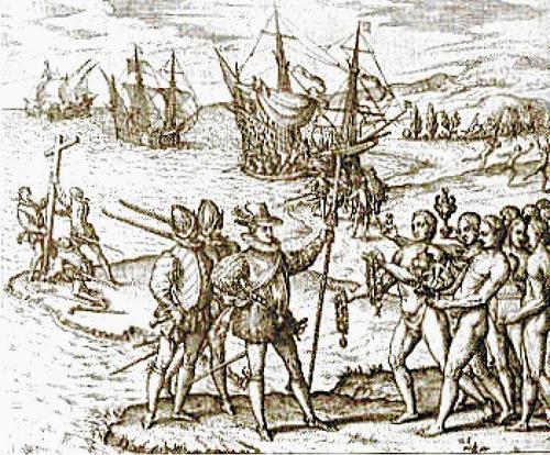 Llegada de Hernán Cortés a la costa de México en 1519, momento clave de la conquista española de América