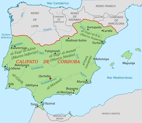 Mapa de la extensión del califato de Córdoba hacia el año 1000. Al noreste vemos el condado de Barcelona, el remoto origen de Cataluña