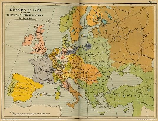Mapa político de Europa en 1721