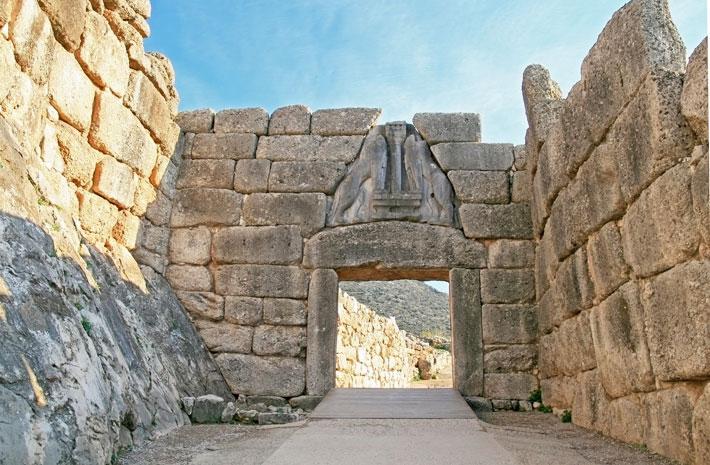 La Puerta de los Leones, en Micenas, importante ciudad de la antigua Grecia