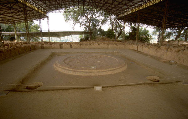 Parte del megaron micénico del palacio de Pilos