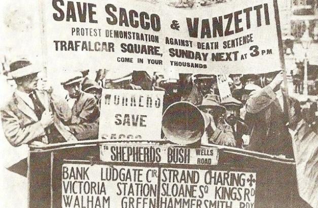 Protesta pidiendo la libertad de Sacco y Vanzetti