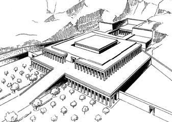 Una de las posibles reconstrucciones del complejo funerario de Mentuhotep II
