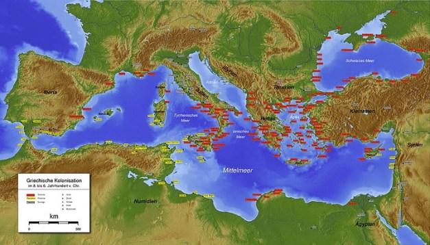 Las colonias griegas en el Mediterráneo las de color rojo
