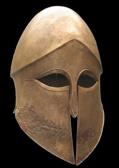 Casco corintio de bronce para hoplitas
