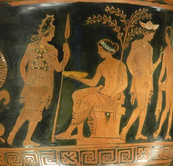 Cerámica de figuras rojas en la que se ve a la diosa Bendis acercándose al dios Apolo, que está sentado