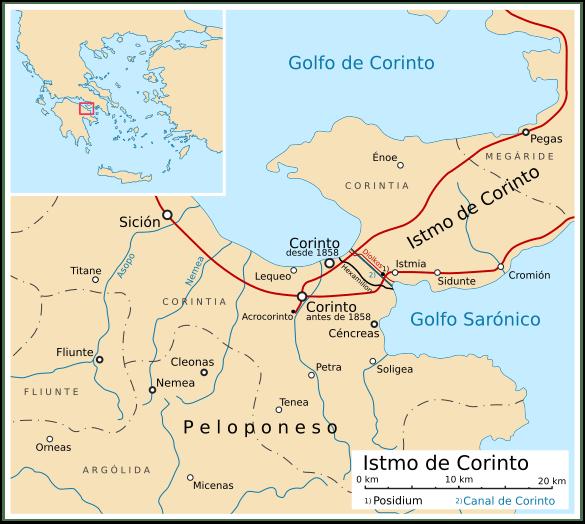 Mapa con la ubicación de Corinto y las ciudades de su entorno
