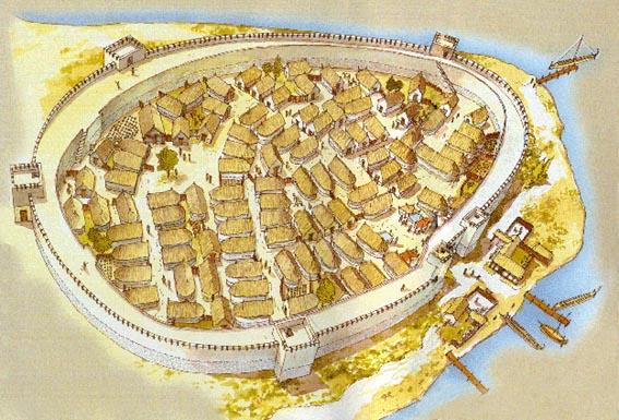 Reconstrucción de cómo sería la ciudad de Esmirna en el siglo VIII a.C., un siglo antes de la separación mencionada