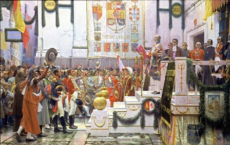 Cuadro que representa la promulgación de la Constitución de 1812,  hecho clave de la Historia contemporánea de España