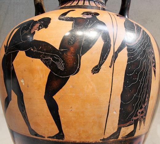 Pieza cerámica de figuras negras en las que se representa una escena de pankration