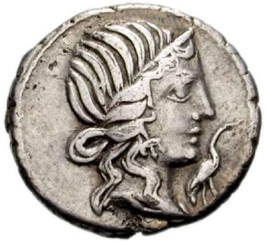 Denariocon el rostro de Quinto Metelo, líder romano en las Guerras Sertorianas