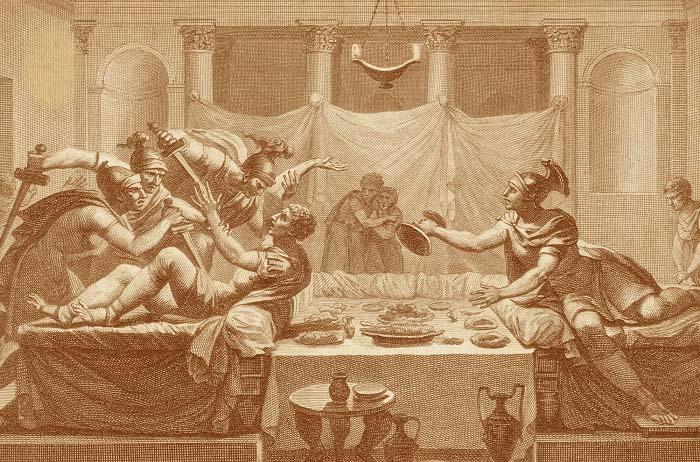 Ilustración que representa la muerte de Sertorio