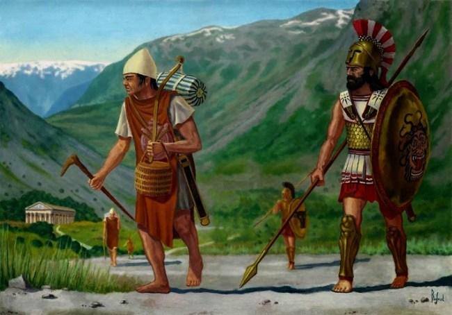 Ilustración en el que se representa a un ilota trabajando bajo la supervisión de un espartano