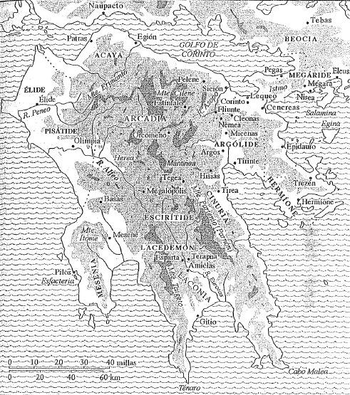 Mapa de la Península del Peloponeso, incluyendo las ciudades que formaron la Liga del Peloponeso