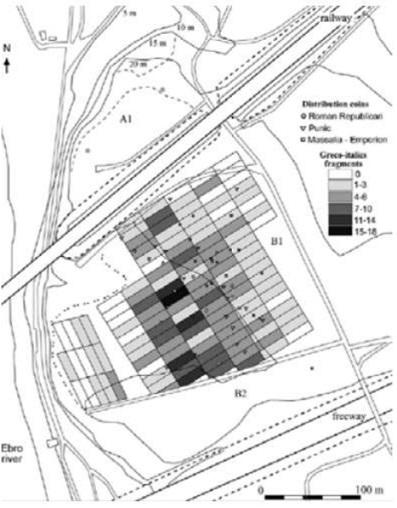 Ejemplo de prospección arqueológica, en Nova Classis, ejemplo de campamentos romanos (Ble, et al., 2011)
