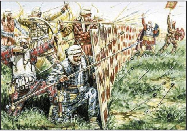 Ilustración de la formación de escudos spara de los persas (Giuseppe Rava, Bellumartis Historia Militar)