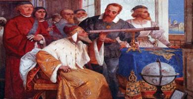 Fresco decimonónico en el que Galileo enseña al Dux de Venecia el uso del Telescopio