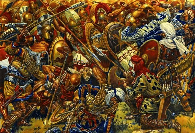 Choque entre griegos y persas en la batalla de Platea (Blog Arrecaballo)