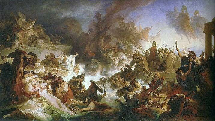 La batalla de Salamina, cuadro pintado en 1868 por Wilhelm von Kaulbach