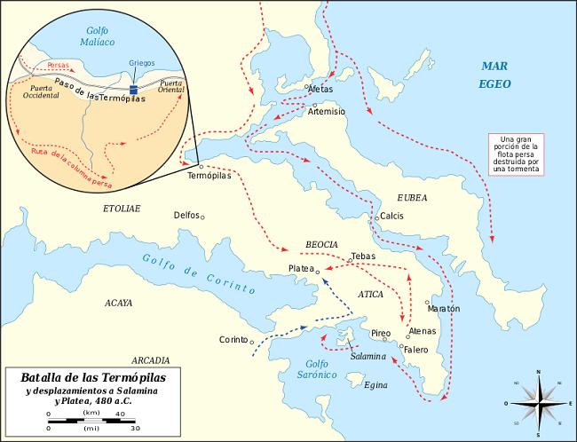Mapa con los movimientos de la batalla de las Termópilas