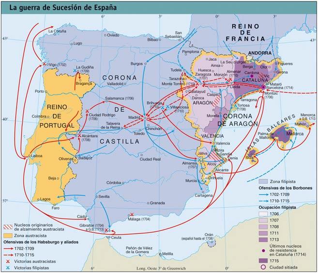 Mapa de la Guerra de Sucesión Española en la península Ibérica