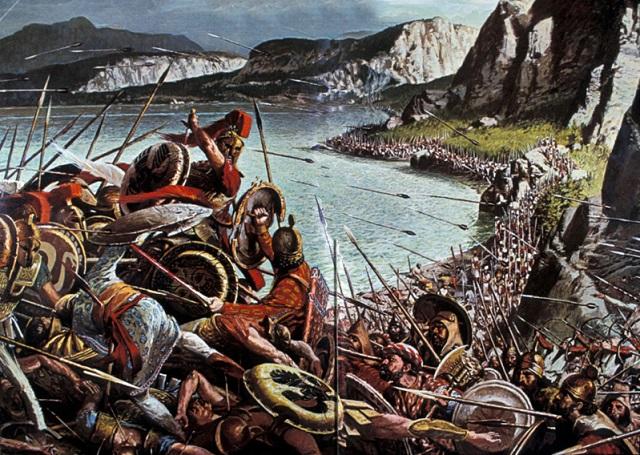 Ilustración que recrea la Batalla de las Termópilas