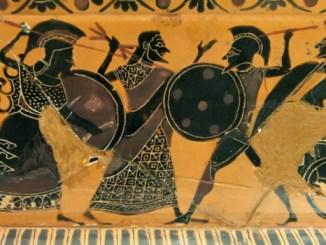 Cerámica de figuras negras en el que se representa la lucha contra el persa