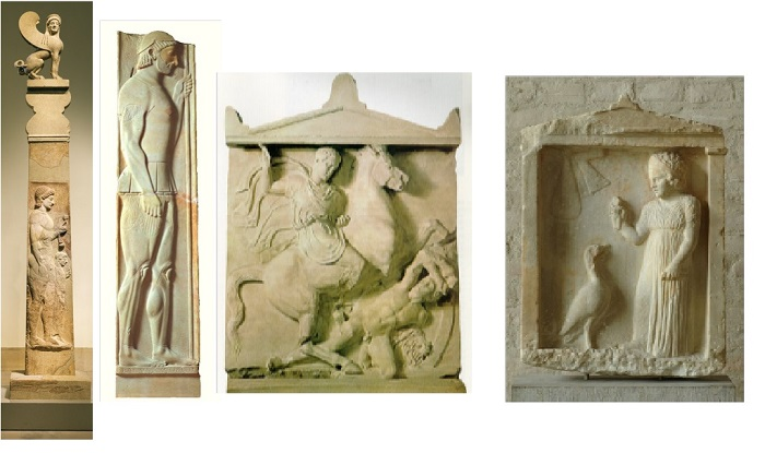 Ejemplos de estelas funerarias griegas