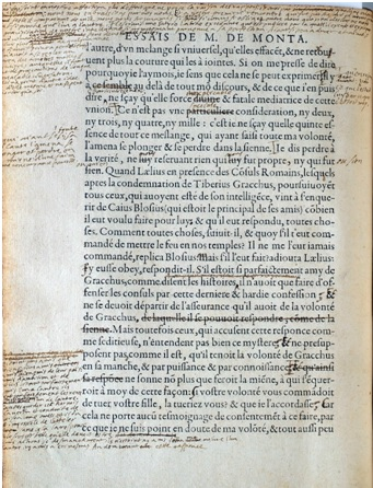 Manuscrito de los Ensayos de Montainge en 1580