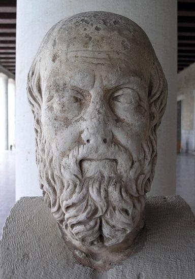 Busto de Herodoto de Halicarnaso en el Museo del Ágora de Atenas