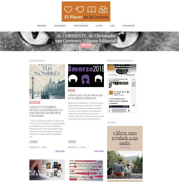 Captura de pantalla del blog El placer de la Lectura