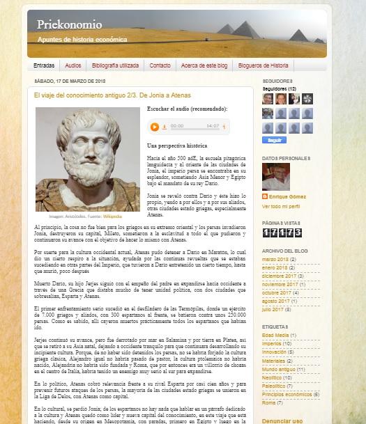 Captura de pantalla general del blog Priekonomio