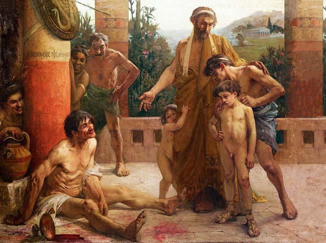 Cuadro de F. Sabbate (1900) sobre la esclavitud en la antigua Grecia. Una familia espartana se burla de su esclavo