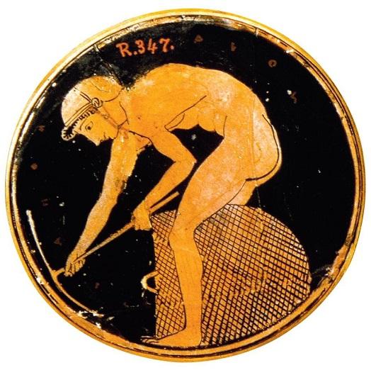 Escena de una cerámica en la que se ve a un esclavo trabajando en una mina