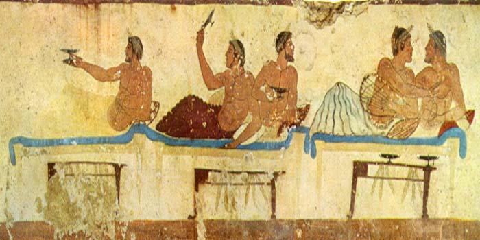 Fresco que representa un simpósion, en la llamada Tumba del nadador (480 a.C.)