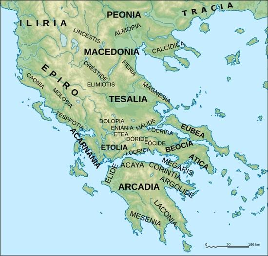 Mapa de las principales regiones de la Grecia antigua. En algunas de ellas se libró la Primera Guerra del Peloponeso