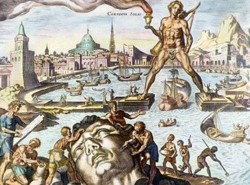 Maerten van Heemskerck hizo unos famosos grabados sobre las maravillas del mundo antiguo. Aquí, el Coloso de Rodas.