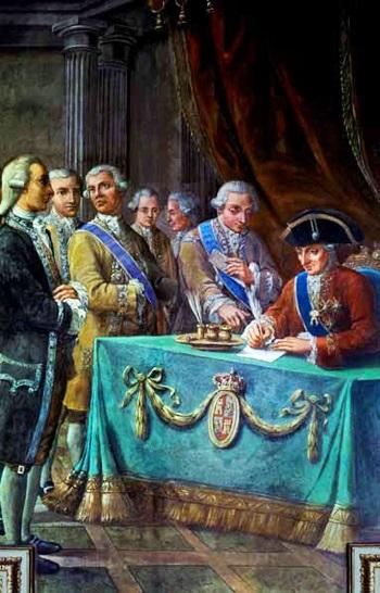 El rey Carlos III firmando el Tratado de Libre Comercio