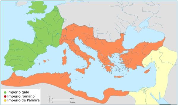Mapa de las principales divisiones del Imperio Romano en el siglo III de la era, incluyendo el Imperio de Palmira