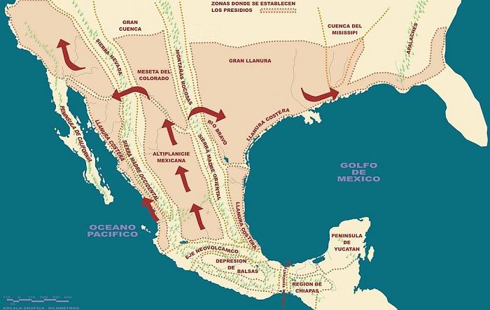 Mapa del flujo minero en el Virreinato de Nueva España