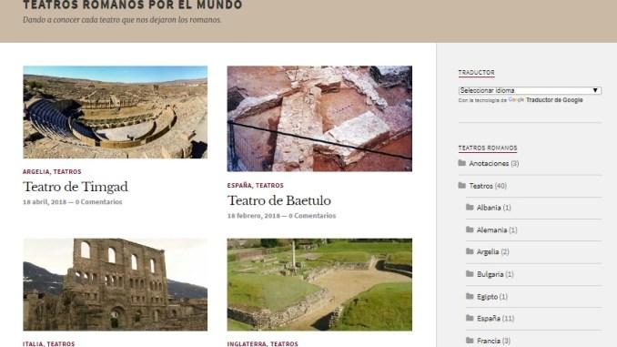 Captura de pantalla del blog Teatros romanos por el mundo