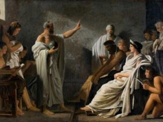 La Tierra es redonda Pitágoras, óleo de Pierre Narcisse Guerin en el s XVIII